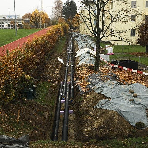 EVB Eschenbach AG, Baufortschritt, Fernwärmeleitung